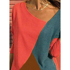 Bloque de color Cuello en V Manga Larga Casual Blusas