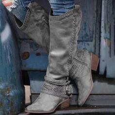 Женский PU Толстый каблук Высокие сапоги Круглый носок с пряжка Молния обувь
