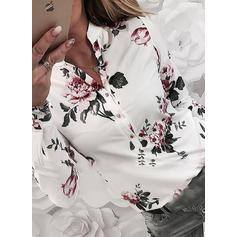 Imprimeu Floral Decolteu în V Mâneci Lungi Cu nasturi Comodă Cămaşă Tip Bluză
