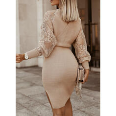 Lace/Solid Long Sleeves Bodycon Above Knee Elegant Sweater Dresses