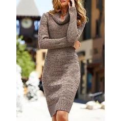 Solid Bucată tricotată Cu Guler Lăsat Comod Lungi Rochie pulover