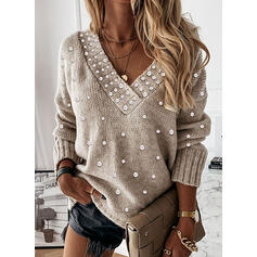Solid Beaded V-Neck Casual Sweaters
