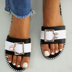 Dla kobiet PVC Płaski Obcas Sandały Otwarty Nosek Buta Kapcie Z Klamra obuwie