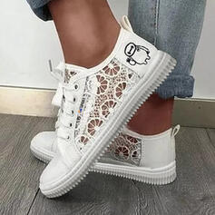 Mulheres PU Sem salto Sem salto Low Top Toe rodada Espadrille com Laço costurado Cor sólida sapatos