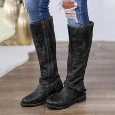 Dla kobiet PU Płaski Obcas Plaskie Zakryte Palce Kozaki Kozaki do kolan Z Zamek błyskawiczny obuwie