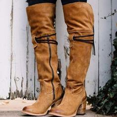 Pentru Femei Piele de Căprioară Toc gros Cizme Cizme până la genunchi Cu vârful cu Fermoar Altele Culoare solida pantofi