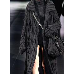 Solid Cable-knit Chunky knit Lapel Casual Long Cardigan