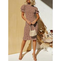 Print Short Sleeves/Puff Sleeves Bodycon Knee Length Casual/Elegant Dresses