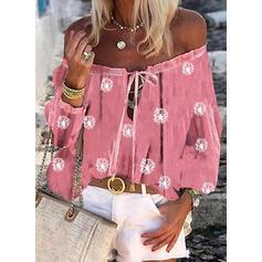 Распечатать Одуванчик Зашнуровать С плеча Длинные рукова Повседневная Блузы