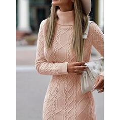 Jednolity Prążkowana dzianina Masywna dzianina Golf Casual Długie Sukienka sweterkowa