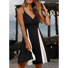 Color Block Sleeveless A-line Knee Length Sexy/Casual/Vacation Dresses