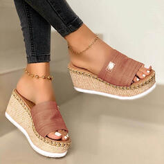 Women's Suede Wedge Heel Sandals Wedges Peep Toe Slippers Heels With Others shoes