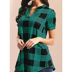 Плед V шеи С коротким рукавом Повседневная Блузы