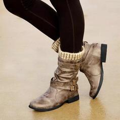 Dla kobiet PU Płaski Obcas Kozaki Kozaki do polowy lydki Buty zimowe Z Klamra obuwie