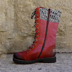 Kvinnor PU Låg Klack Martin Stövlar med Zipper Bandage Skarvfärg skor