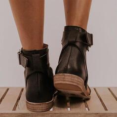 Bayanlar suni deri Düz topuk Sandalet Flats Peep Toe Toe Ring Ile Toka ayakkabı
