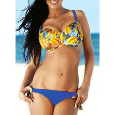 Kwiatowy Nadruk W prążki Seksowny Bikini Stroje kąpielowe