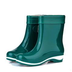 Dla kobiet PVC Niski Obcas Zakryte Palce Kozaki Botki Kalosze Z Klamra obuwie