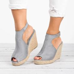 Women's Suede Wedge Heel Pumps Peep Toe With Buckle shoes