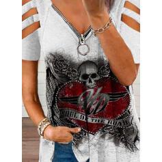 Print Floral Heart Letter Cold Shoulder Short Sleeves Casual Knit Blouses