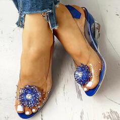 Pentru Femei PU Platforme Înalte cu Ştrasuri Transparent pantofi