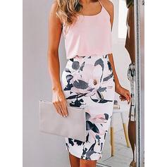 Print/Floral Sleeveless Bodycon Knee Length Casual Dresses