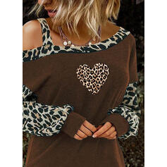 Estampado Leopardo Coração Um Ombro Manga Comprida Casual Blusas