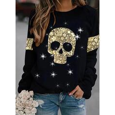 Print Sequins Halloween Round Neck Long Sleeves Sweatshirt