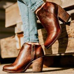 Femmes PU Talon bottier Bottes avec Zip chaussures