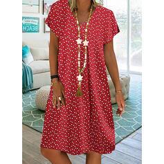 Nadrukowana Krótkie rękawy Koktajlowa Długośc do kolan Casual T-shirt Sukienki