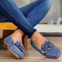 Frauen Mikrofaser Flascher Absatz Flache Schuhe Low Top mit Blume Einfarbig Schuhe