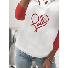 Print Figure Heart Long Sleeves Hoodie