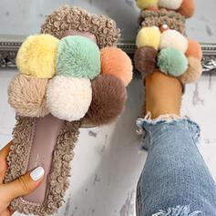 Frauen Stoff Flascher Absatz Sandalen Peep Toe Pantoffel mit Pelz Schuhe