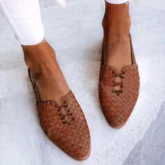 Pentru Femei PU călcâi plat Balerini cu Lace-up Bretea Împletită Culoare solida pantofi