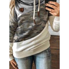 Color Block Camouflage Long Sleeves Hoodie