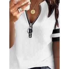 Цветной блок V шеи С коротким рукавом Повседневная Вязание Блузы