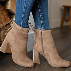 Süet Tıknaz Topuk bot ayakkabı Ayak bileği çizmeler Düşük Üst topuk Sivri parmak Ile Fermuar Bağcıklı ayakkabı Katı Renk ayakkabı