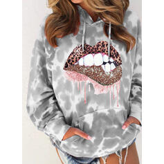 Print Tie Dye Leopard Sequins Pockets Long Sleeves Hoodie