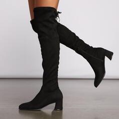 Pentru Femei Piele de Căprioară Toc gros Gizme Peste Genunchi Cu vârful cu Fermoar Lace-up pantofi