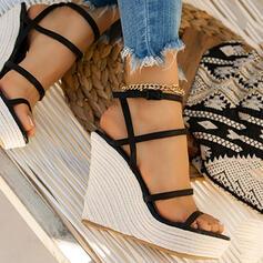 Bayanlar mikrofiber Sivri topuk Sandalet Pompalar Takozlar Peep Toe Ile Katı Renk ayakkabı