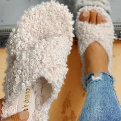 Dla kobiet Tkanina Płaski Obcas Otwarty Nosek Buta Kapcie Z Futro Pozostałe obuwie