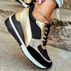 Mulheres PU Outros Sem salto Tênnis com Aplicação de renda Cor da emenda sapatos