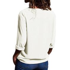 """Jednobarevný Výstřih do """"V"""" Dlouhé rukávy Neformální Elegant Bluze"""