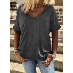 Jednolity Dekolt w kształcie litery V Krótkie rękawy Casual Podstawowe T-shirty