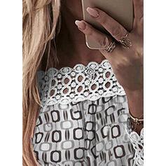 Распечатать кружевной С плеча Длинные рукова Повседневная Блузы