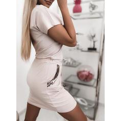 Nadrukowana Krótkie rękawy Bodycon Nad kolana Casual Sukienki