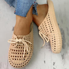 Женский ПВХ Повседневная с Зашнуровать Выдолбить обувь