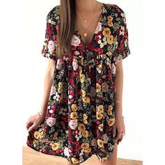 Print/Floral Short Sleeves Shift Above Knee Casual/Elegant Dresses