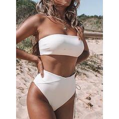 Jednolity kolor Wysoki stan Bez ramiączek Seksowny Bikini Stroje kąpielowe