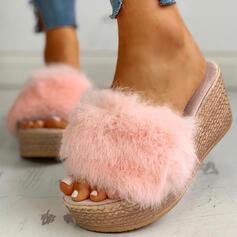 Frauen Stoff Flascher Absatz Sandalen Pantoffel mit Pelz Schuhe